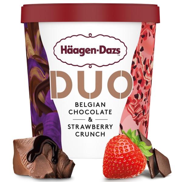 Haagen Dazs DUO Belgian Chocolate & Strawberry Crunch 420ml